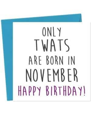 Only twats are born in November - Happy Birthday! Birthday Card