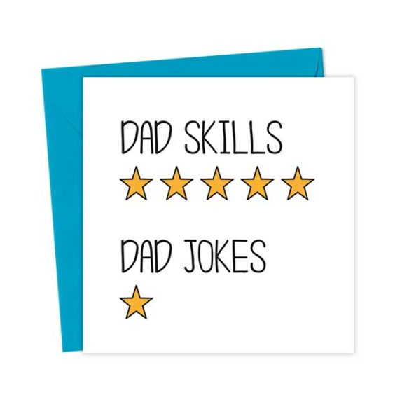 Father Review Card Dad Skills 5 star Dad Jokes 1 star