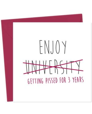 Enjoy University - getting pissed for 3 years - Funny Good Luck Card