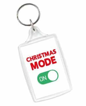 Christmas Mode On White Keyring