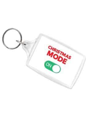 Christmas Mode On White LS Keyring