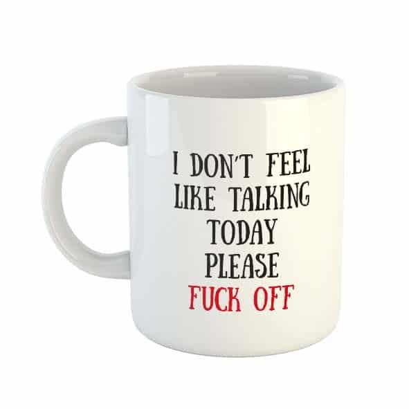 I don't feel like talking today, please fuck off! Mug