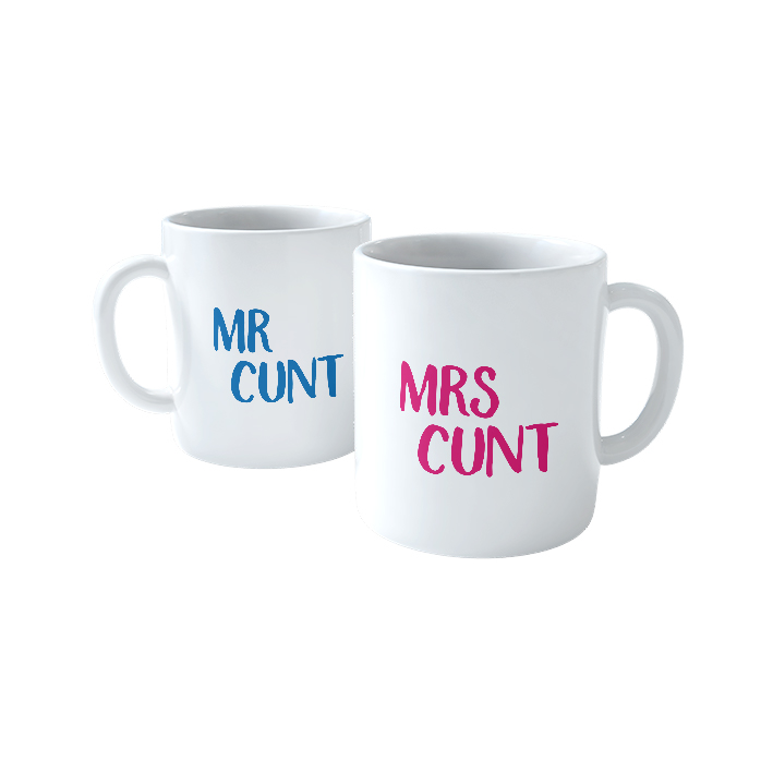 Mr and Mrs Cunt Blue Pink  Mugs