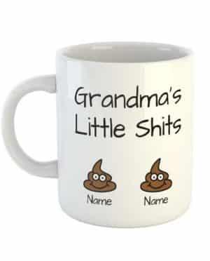 Grandma's Little Shits Personalised Names Mug