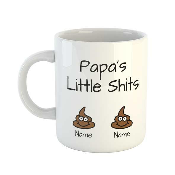 Papa's Little Shits Personalised Names Mug