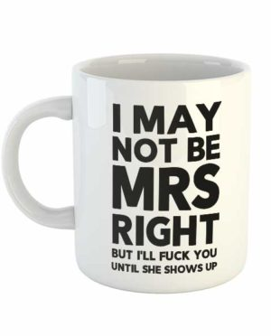 I may not be Mrs Right but I'll fuck you until she shows up Mug