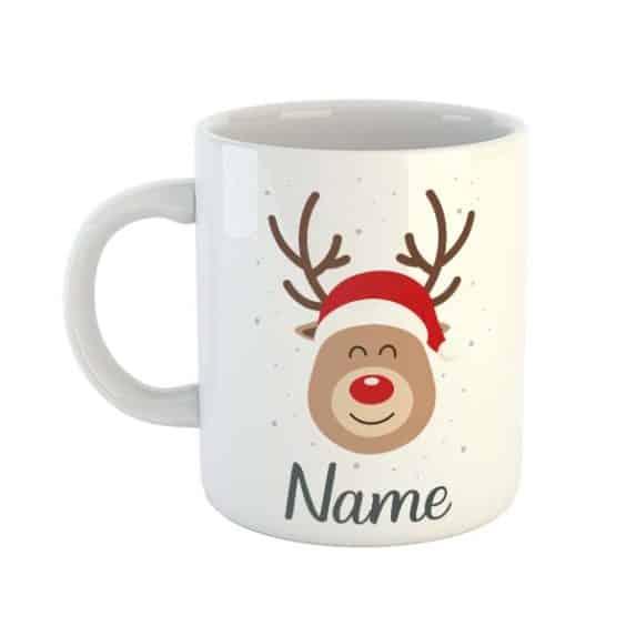 Rudolph Raindeer Personalised Name Mug