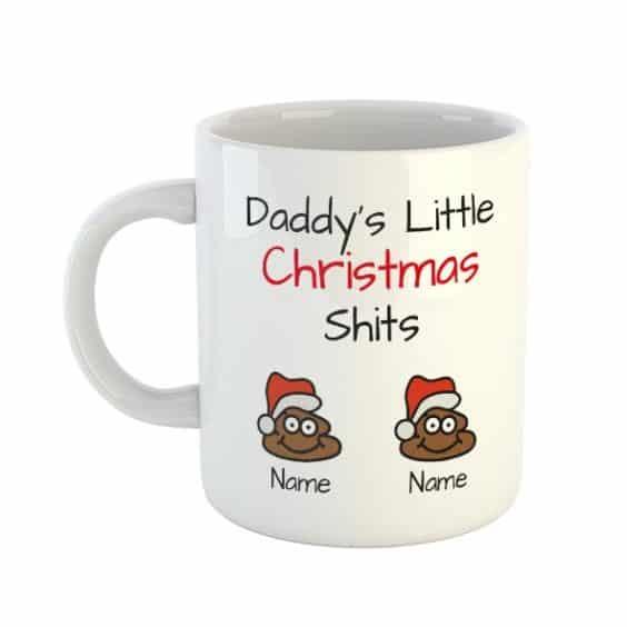 Daddy's Little Christmas Shits Personalised Names Mug