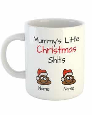 Mummy's Little Christmas Shits Personalised Names Mug