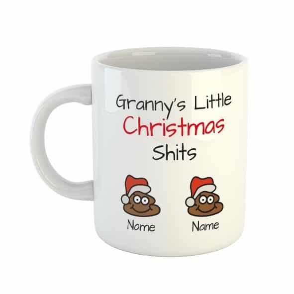 Granny's Little Christmas Shits Personalised Names Mug