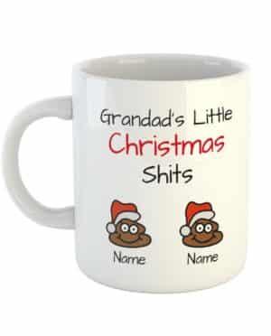 Grandad's Little Christmas Shits Personalised Names Mug