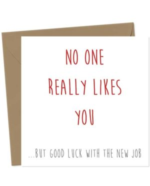 No one really likes you... but good luck with the new job! New Job Cards Greeting Card